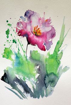 Kovács Anna Brigitta - Pinturas a la Venta - Olivia Watercolor Print, Watercolor And Ink, Watercolour Painting, Watercolor Flowers, Painting & Drawing, Watercolors, Tulip Painting, Arte Floral, Abstract Flowers