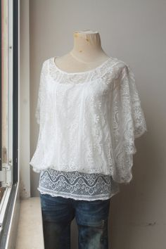 White Lace Top Lace Tunic Bat Wing Top Vintage by TequilaCloset, $42.00