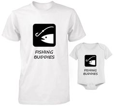 FATHER AND BABY SET T-SHIRT AND BODYSUIT SET DAD AND SON FISHING BUDDIES SET #Unbranded Father And Baby, Baby Set, Sons, Fishing, Bodysuit, Mens Tops, T Shirt, Clothes, Onesie