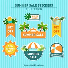 Fresh stickers for summer sales Free Vector