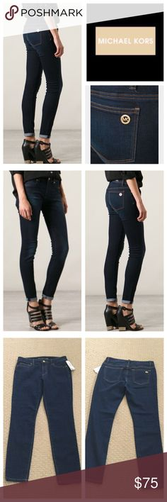 """Michael Michael Kors Overdyed Skinny Jeans.  NWT. Michael Michael Kors Overdyed Indigo Stretchy Skinny Jeans, 76% cotton, 23% polyester, 1% elastane, machine washable, 30"""" waist, 8.5"""" front rise, 14.5"""" back rise, 29"""" inseam, 11"""" leg opening all around, gold tone hardware, five pockets, belt loops, zip fly button closure, Michael Kors gold tone metal tag on back pocket, measurements are approx.  NO TRADES MICHAEL Michael Kors Jeans Skinny"""