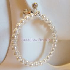 CLIP ON or PIERCED 2.25 in WHITE Glass Faux Pearl Hoop Handmade Earrings V245 #Handmade #GlassPearls #FauxPearls #Hoopearrings #WhitePearls #cliponearrings