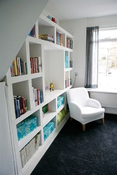 modern shelving with room for tv