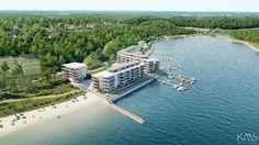 FRA SØRØST: Ved siden av de 65 leilighetene i første byggetrinn skal det anlegges park og badestrand. (Illustrasjon: KMS Arkitekter AS)