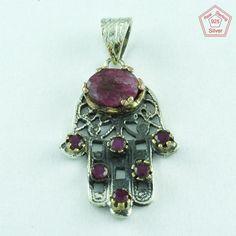 Fatima Hand Design 925 Sterling Silver Ruby Agate Pendant P2592…