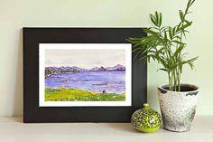 Watercolor California pebble beach painting, archival print