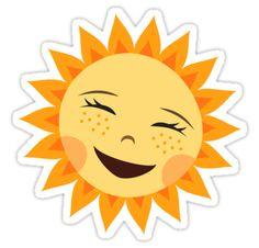 Sticker featuring a cartoon illustration of a bright, happy sun.