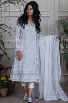 Khaadi Printed 2 Piece Lawn Collection Vol-2 Custom Stitched Suit - Grey - L18201