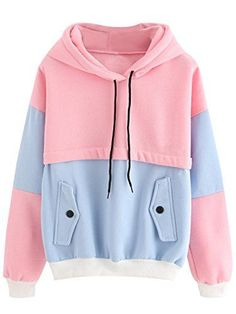 SweatyRocks Sweatshirt Women Colorblock Pullover Fleece Hoodie Large PinkBlue * You can get additional details at the image link.(This is an Amazon affiliate link and I receive a commission for the sales) #FashionHoodiesandSweatshirts Christmas Ad, Harry Potter Outfits, Luna Lovegood, Slytherin, Hogwarts, Bag Accessories, Jumper, Sweatshirt, Suspenders
