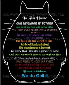 This is the perfect print for any Miyazaki/Studio Ghibli Fan! Each sentence is about a specific studio ghibli film (primarily