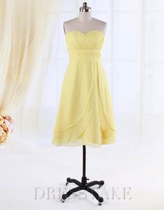 Hot Sale A-line Knee-length Sweetheart Strapless Chiffon Bridesmaid Dresses, US$64.55