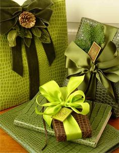 Go monochromatic with all your gift wrapping supplies. The subtle differences in color make your gift wrapping look sophisticated. - Carolyne Roehm #giftwrapping #elegant #green