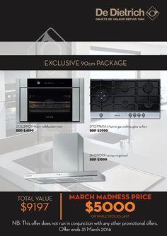 De Dietrich - 90cm Cooking Package - SAVE $4,197    OFFER extended till 17th APRIL 2016 - De Dietrich 90cm Kitchen Package Rewards - SAVE $4,197* conditions apply