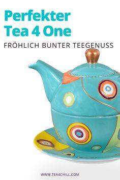 Ein echtes Designerstück ist die Tea4One Tasse. Dank eleganter Rundungen und kunstvoller Handbemalung ist sie auch ein großartiges Geschenk für Teeliebhaber. Genieße Deinen Tee! #teezeit #teeliebhaber Jasmin Tee, Oolong Tee, Mate Tee, Tee Set, Tea For One, Modern Art, Tea Pots, Tableware, How To Make Tea