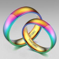 Fancy Rainbow Style Couple Rings Wedding Rings