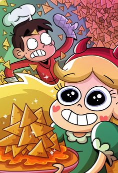 "skleero: "" ""There's no such thing as 'too many nachos', Marco!"" This looked way more wholesome in my head. But look at Star! Look at how happy she is! Tentatively a submission for the COOKING prompt of the "" Skleero my friend, I. Star E Marco, Starco Comics, Dipper And Bill, Power Of Evil, Princess Star, Anime Stars, Star Force, Star Butterfly, Cute Cartoon Wallpapers"