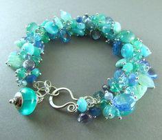 25% Off Summer Sale Aqua Blue and Green Cluster Gemstone Sterling Silver Adjustable Bracelet - Seaside