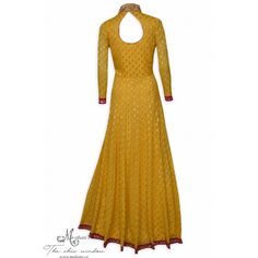 Bright yellow stitched anarkali suit adorn in benarasi polka dots-Mohan's the chic window