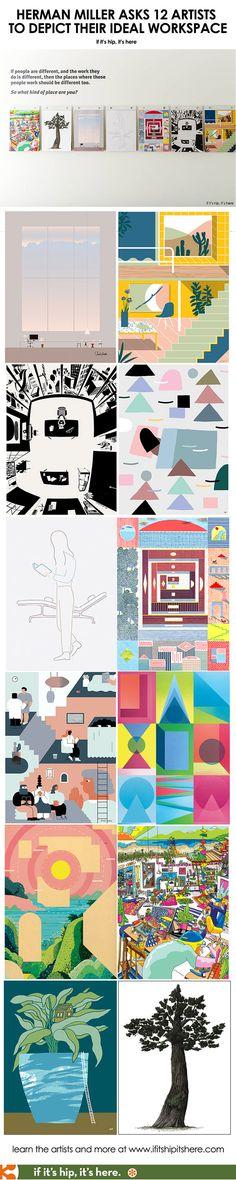 Herman Miller enlists 12 artists to depict their ideal workspace for NeoCon 2016 #graphicdesign #hermanmiller #iihih