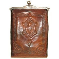 Antique Art Nouveau Brown Tooled Leather 1900s Turnloc Handbag.