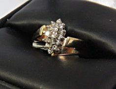Vintage Diamond Cluster Ring .25 cttw  10k by KimsJewelryLove