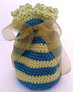 Crochet Blue and Green Striped Small Gift Bag Tied by WoollyPops