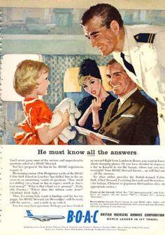 Boac British Airways 707 Ad Steward Knows Answers (1960)