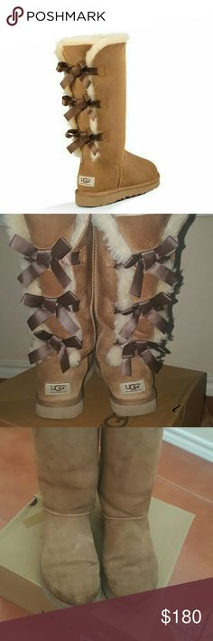 LABOR DAY SALEAuthentic Bailey Bow Tall boots SALE PRICE IS FINAL. Adorable tall ugg boots in color chestnut with cute bows in the back. Minimal signs of wear and very light staining but should come off with ugg cleaner. Also minimal fraying from seam as shown in final photo. Overall boots are in  overall excellent condition. Fur is still plush and in my opinion. additional photos upon request. BOX NOT INCLUDED/NO TRADES UGG Shoes