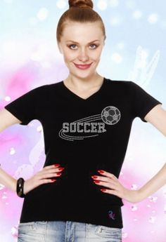 Double Row Soccer Rhinestone T Shirt Price: $22.99
