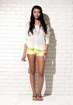 Spring Look - Roxy open back sweater, bullheadblack yellow shorts #bullheadblack #pacsun