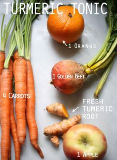 Fresh Turmeric Juice Ingredients: Fresh Turmeric Tonic 4 medium organic carrots 1 small golden beet scrubbed and cut in half (optional) 1 apple 1 orange 1 Tablespoon sliced fresh turmeric root