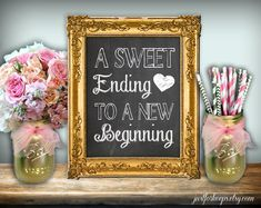 A Sweet Ending To A New Beginning Chalkboard by justforkeeps