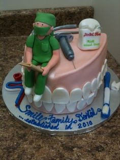 This cake was made for the opening of a dental surgery practice. All pieces are edible (except floss string and metal part of needle). Dental Cake, Medical Cake, Tooth Cake, Cupcakes Decorados, Adult Birthday Cakes, Specialty Cakes, Novelty Cakes, Occasion Cakes, Creative Cakes