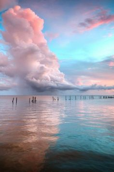 Pink clouds at sunrise or sunset