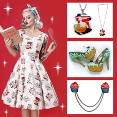 The ultimate baking outfit! Baking themed dress, Mixmaster Necklace, Ice Cream shoes and cupcake cardigan clips. Blog post