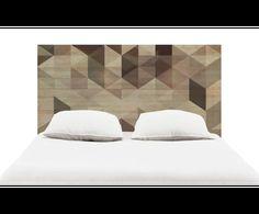 Cabecero artesanal de madera de pino Geometric - marrón