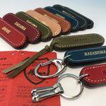 「刻印無料」お名前ヌメ革キーホルダー・名前タグ(3種類の金具・8色革・焼印または金色刻印から選べます。)栃木レザーヌメ革素敵な風合い