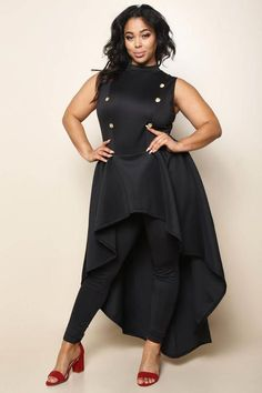 e38b157b91 A showstopping plus size jumpsuit with a sweeping train that flows from the  waist. Features