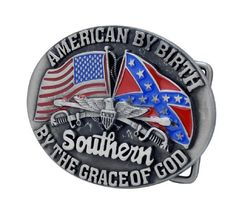 American By Birth Southern Confederate Flag Dixie Rebel Metal Fashion Belt Buckle