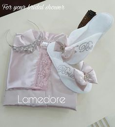 Set of 3 Bride Silk satin Robe with script rhinestone by LAMEDORE