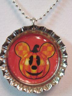 Mickey Mouse Pumpkin bottle cap necklace Halloween