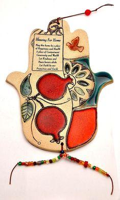 Home Blessing Hamsa Hand W/Pomegranate For Energy Luck & Success Arts And Crafts Storage, Arts And Crafts House, Hamsa Art, Hamsa Design, Hand Of Fatima, Hold My Hand, Slab Pottery, Jewish Art, Old Art