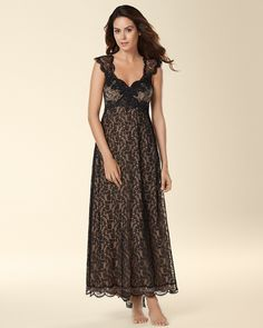 Soma Intimates Signature Luxurious Lace Long Nightgown Black  somaintimates  Lingerie Sleepwear 298d39a38