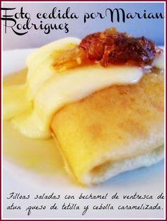Filloas Saladas con bechamel de ventresca de atùn ,champiñones ,queso de tetilla y cebolla caramelizada....