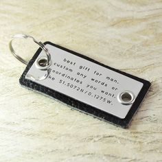 leather keychain-alloy key chain-dad's gift Personalized Gift for Father's Day Father's Day gifts Daddy Thank you Dad on Etsy, $13.99