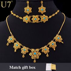 U7 Romantic Flower Necklace Set Gold Plated Turquoise Party Women Necklace Earrings Bracelet Jewelry Set S542