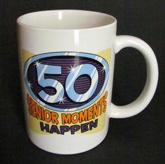 Senior Moments Happen Ceramic Coffee Mug Tea Cup White 12 Oz 50th Birthday Funny #Unknown
