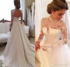 2017 Gorgeous Long Sleeve Wedding Dresses With Sheer Neck Jewel Sexy Open Back Bridal Gowns Satin Vintage Wedding Dress Lace Top Cheap - Bridesmaid Dresses Wedding Dress Black, Lace Wedding Dress With Sleeves, Long Sleeve Wedding, Perfect Wedding Dress, Dress Lace, Lace Sleeves, Lace Gowns, Wedding Lace, Lace Dresses
