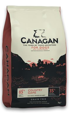 Dog - Canagan Country Game Grain free, Duck, Venison and Rabbit. Complemented with vegetables. This is a complete food for Dogs. Available n a range of sizes.