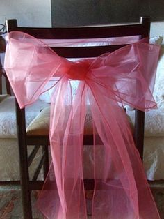 Coral Pink Organza Chair Sashes 8in x 3yds 10pc (Save 74%) $9 for 10pc